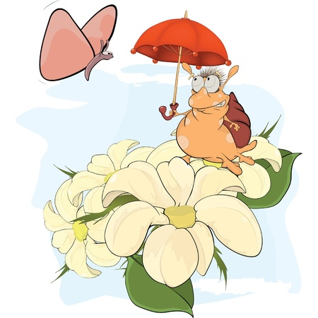 Snail and the butterfly cartoon Vector