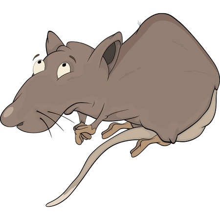 mustached: House rat. Cartoon