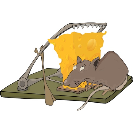 Rat cheese and a mousetrap Vector