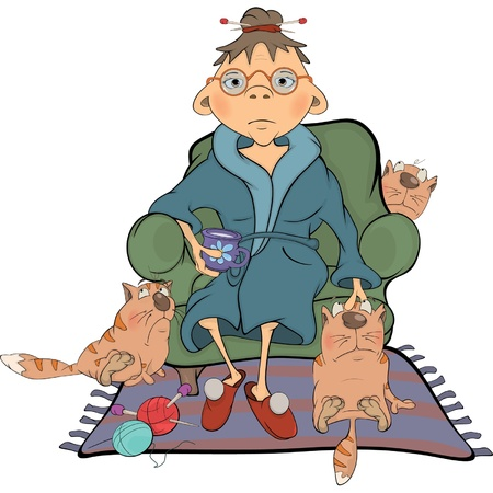 The grandmother and its cats Cartoon Vector