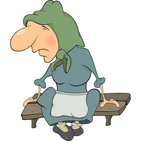 old wife: The grandmother on a bench cartoon  Illustration