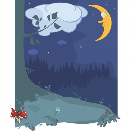 Night wood landscape Vector