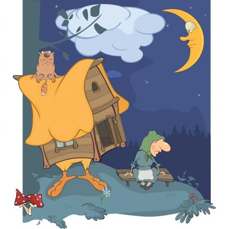 champignon magique: Nuit du bois et la cabane d'un vieux bois aux sorci�res