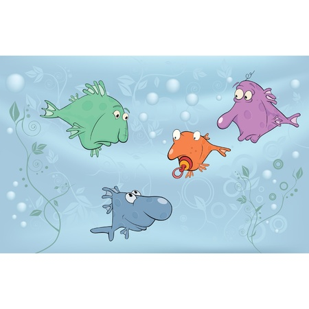 Cheerful small fishes in lake. Cartoon Vector