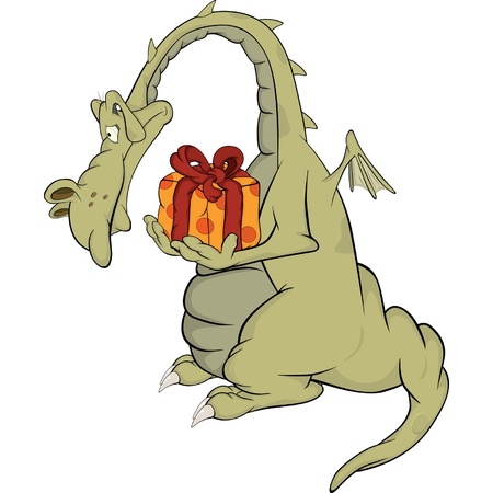 dragon:  Dragon with a gift. Cartoon