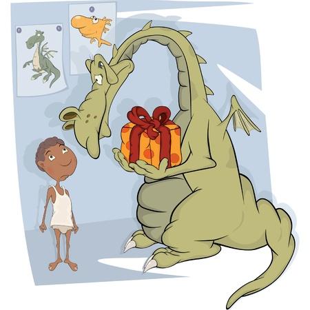 The boy and dragon. Cartoon Stock Vector - 14488959