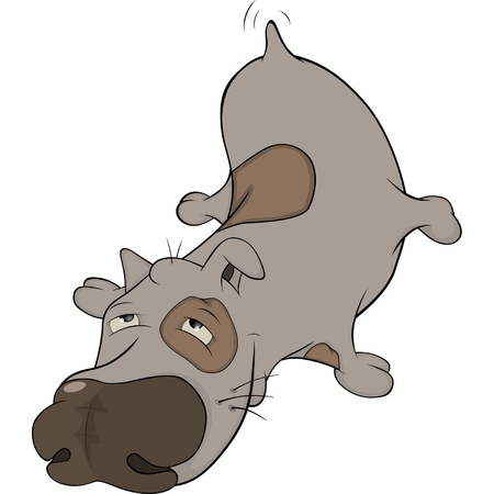 impudent: The hunting dog. Cartoon Illustration