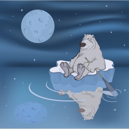 Polar bear on an ice floe  Stock Vector - 14545903