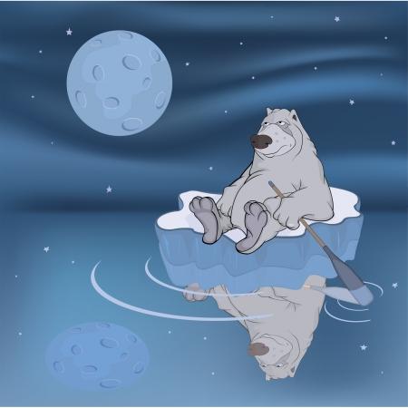 arctic landscape: Polar bear on an ice floe