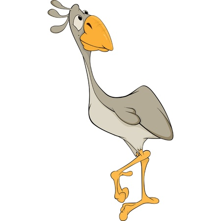 Ostrich. Cartoon Vector