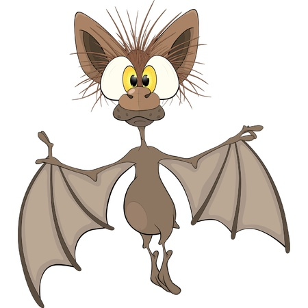 Little cheerful bat.Cartoon Vector