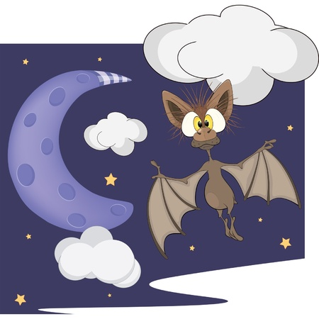 nocturnal animal: Bat and the moon cartoon
