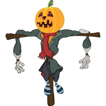 scarecrow: Scarecrow halloween pumpkin cartoon Illustration