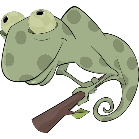 Big green Chameleon cartoon Vector