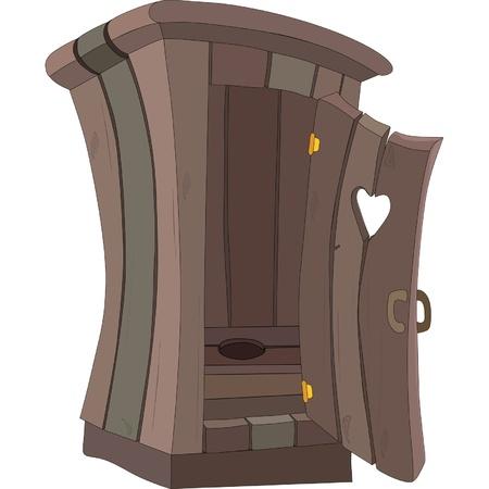 outhouse: cartoon toilet WC Illustration