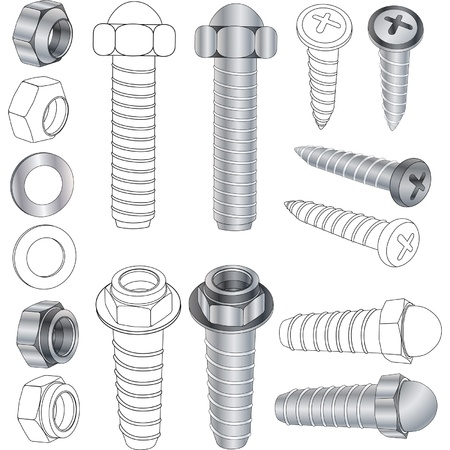 The complete set bolts and nuts Clip-Art  Stock Vector - 14968835