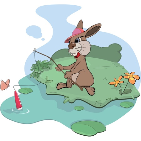 Rabbit the fisherman  Stock Vector - 15352714