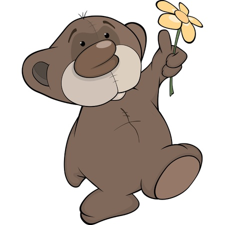 Bear cub and a flower Vector