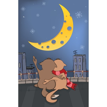 Cats and the moon. Cartoon Vector
