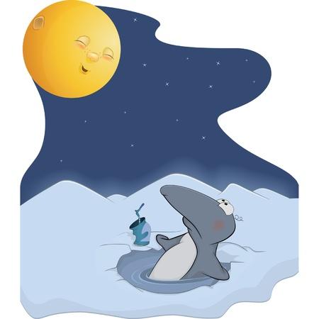 Penguin and the moon. Cartoon Stock Vector - 15765022