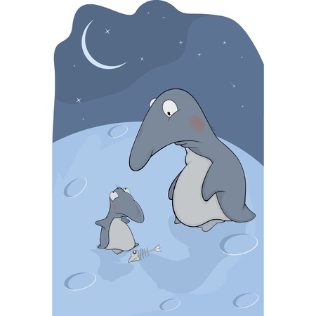 Penguins. Mum and the hungry son. Cartoon Stock Vector - 15843435