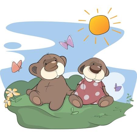 glade: Bear cubs on a glade Illustration