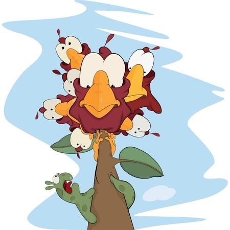 ver de terre cartoon: Les oiseaux et un dessin anim� ver Illustration