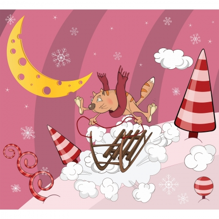 Cat on sledge cartoon Stock Vector - 16400124