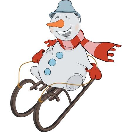 Christmas Snowball and sledge. Cartoon Stock Vector - 16400131