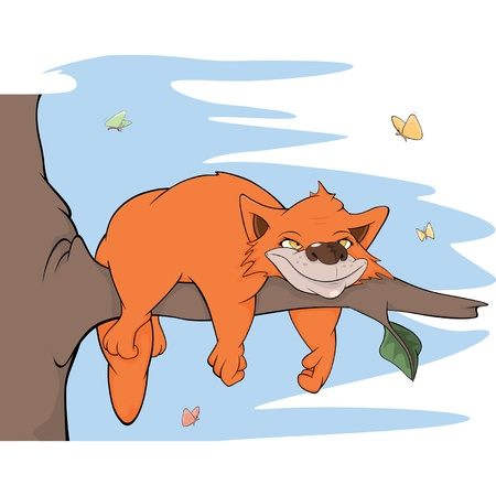 idler: Cat on a tree and butterflies. Cartoon