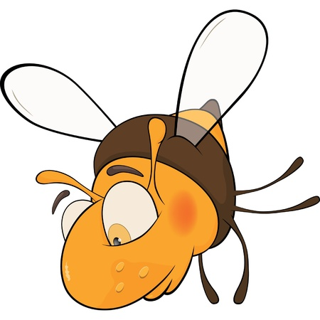 Sad bee. Cartoon Vector
