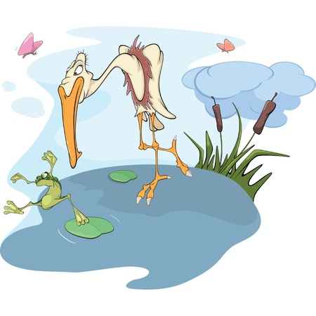 Heron and frog. Cartoon Vector