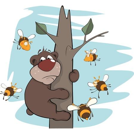 Bear cub and bees. Cartoon Stock Vector - 16868683