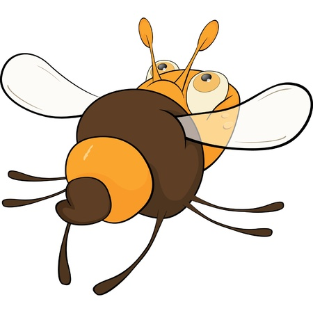 Departing bee. Cartoon  Vector