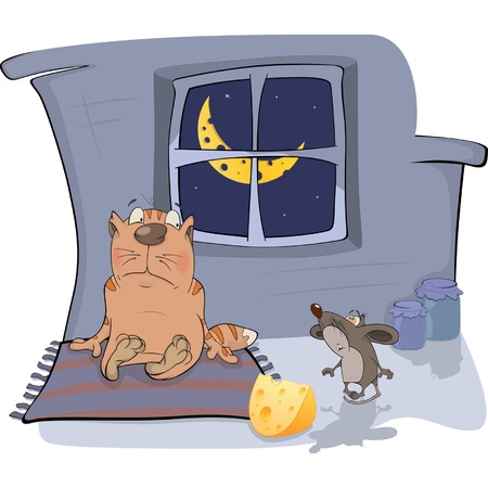 About a cat and a mouse. A meeting. Cartoon Vector