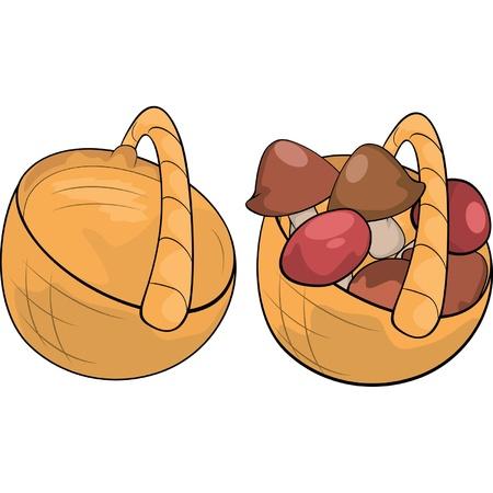 vegetable basket: mushroom on basket cartoon Illustration