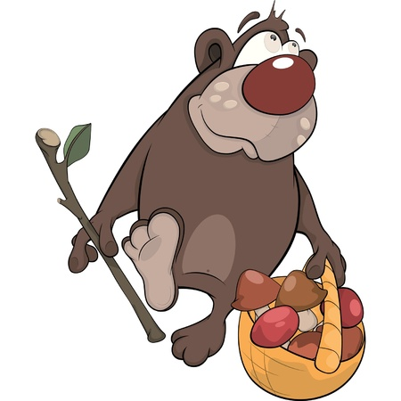 Bear with a basket with mushrooms. Cartoon Vector