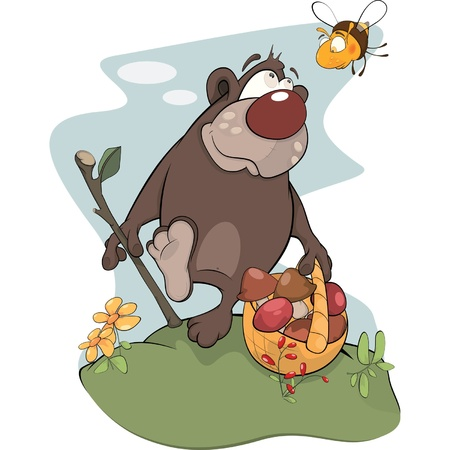 Bear and bee. Cartoon Vector