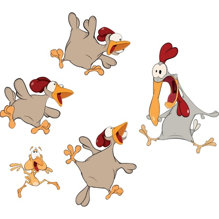 Hens and a cock. Cartoon
