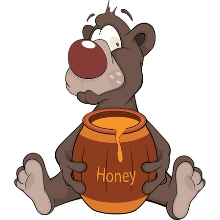 mead: Bear and a wooden keg with honey. Cartoon