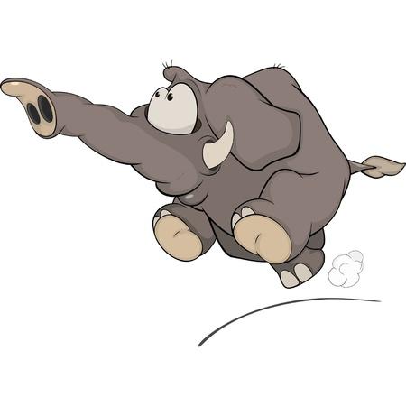 The running elephant calf cartoon Stock Vector - 17169120
