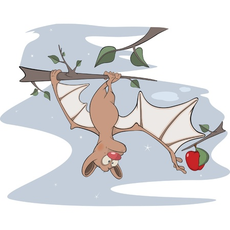 mustached: Little cheerful bat. Cartoon Illustration