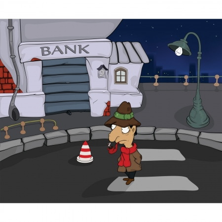 The detective in a night city. Cartoon Vector