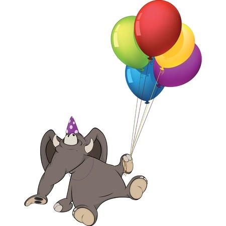 globos de cumplea�os: La cr�a de elefante y globos de cumplea�os. Dibujos animados