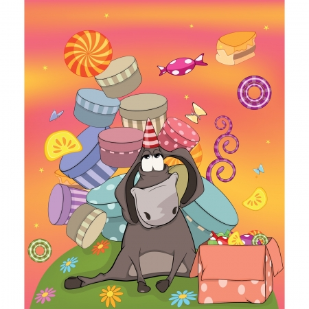 Donkey birthday. Cartoon Vector
