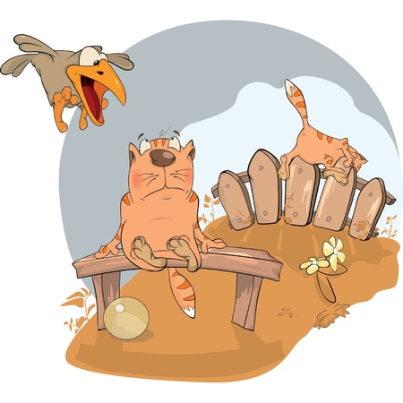 boredom: Cat and a raven. Cartoon
