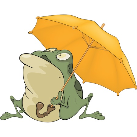 Frog with an umbrella. Cartoon Vector
