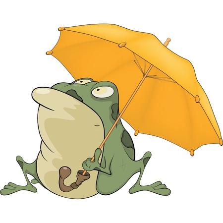 Frog with an umbrella. Cartoon Stock Vector - 17415443