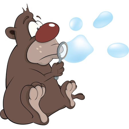Bear cub and soap bubbles. Cartoon Vector