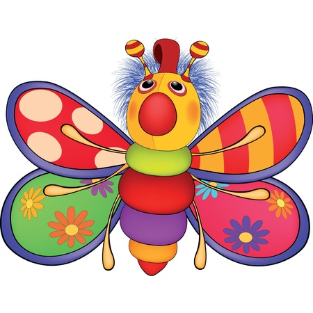 Soft toy, the toy butterfly. Cartoon Vector